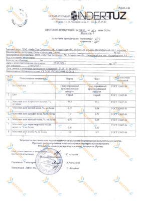 Сертификат на техническую соль